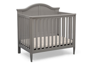 Delta Children Grey (026) Mini Convertible Baby Crib with Mattress and 2 Sheets Crib Right Silo View