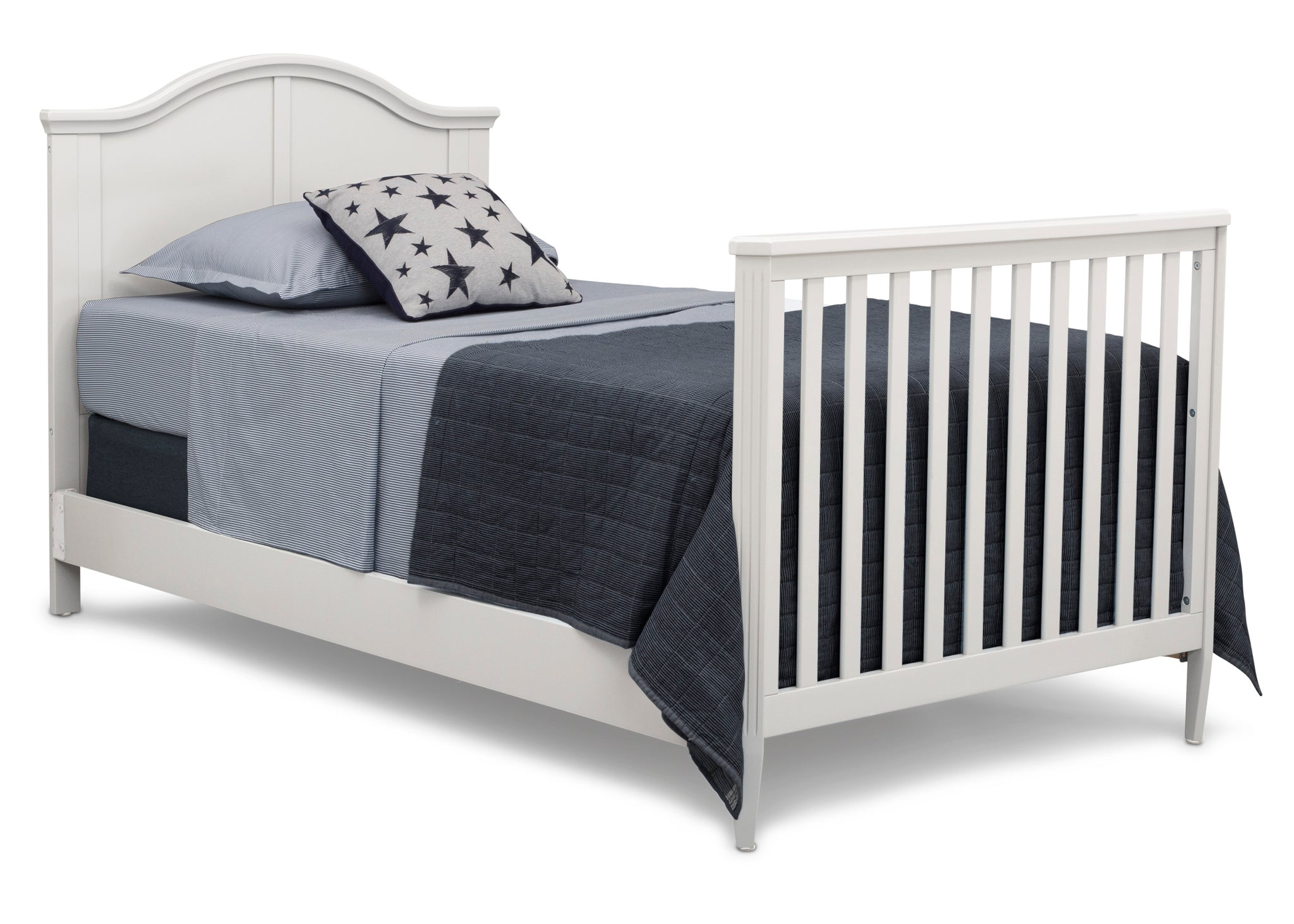 Delta Children Bianca White (130) Mini Convertible Baby Crib with Mattress and 2 Sheets Right Twin Bed Silo View