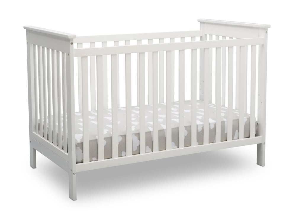 Delta Children Bianca White (130) Adley 3-in-1 Crib (W102130) Right Silo b3b