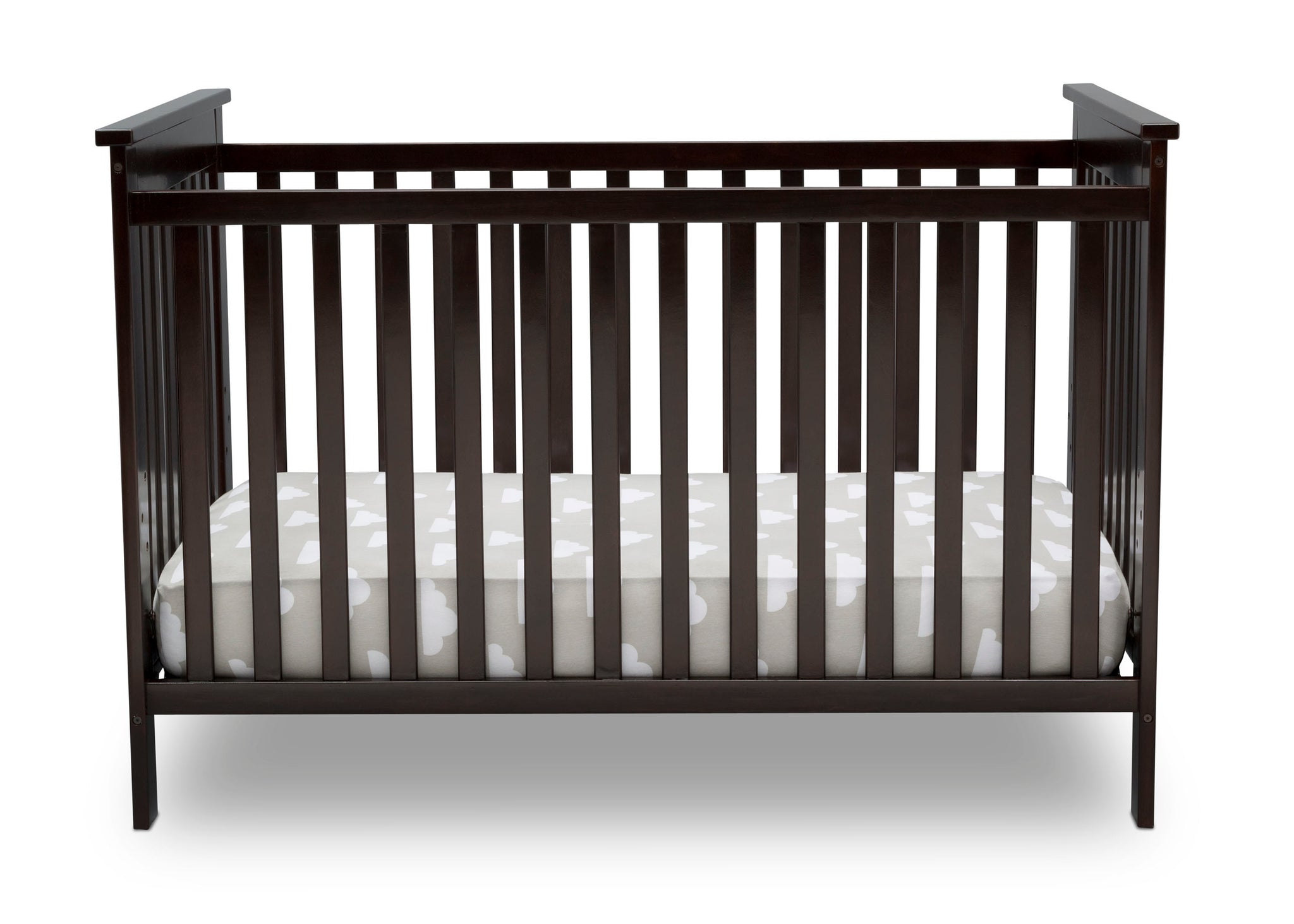 Delta Children Dark Chocolate (207) Adley 3-in-1 Crib (W102130) Front Silo c2c