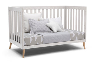 Delta Children White with Natural (123) Essex 4-in-1 Convertible Crib, Right Day Bed Silo View
