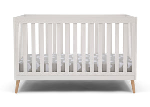 Delta Children White with Natural (123) Essex 4-in-1 Convertible Crib, Front Crib Silo View