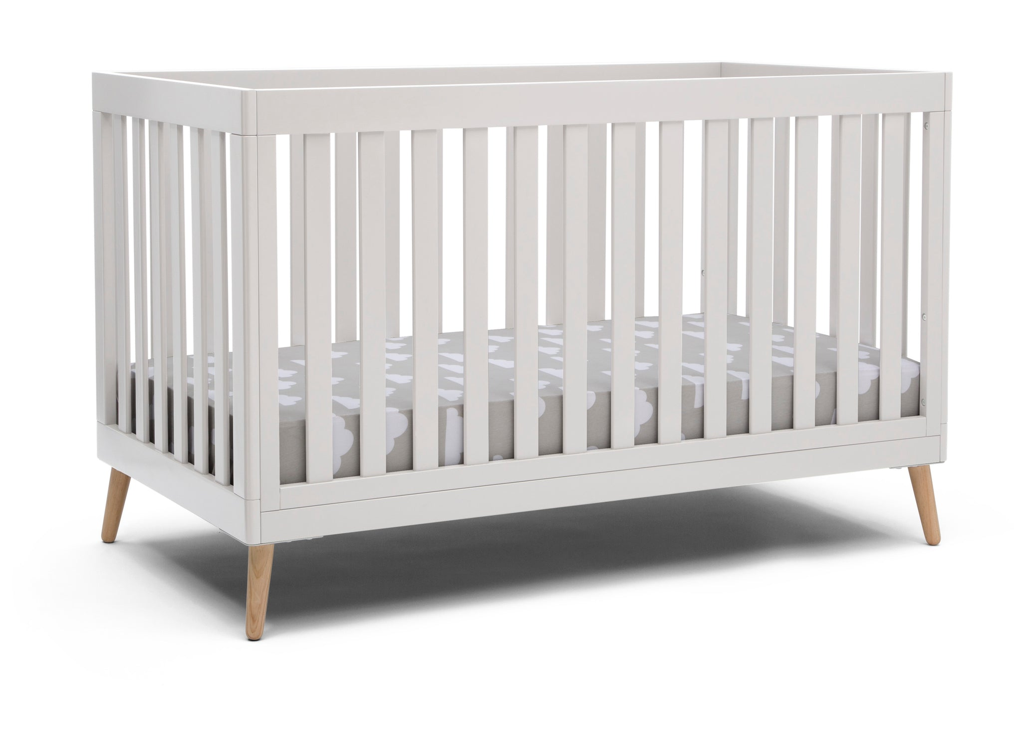 Delta Children White with Natural (123) Essex 4-in-1 Convertible Crib, Right Crib Silo View