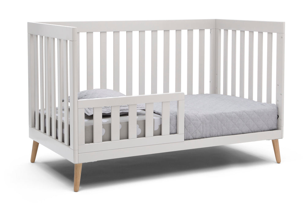 Delta Children White with Natural (123) Essex 4-in-1 Convertible Crib, Right Toddler Bed Silo View