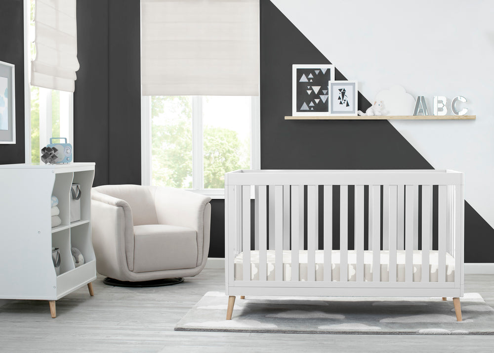 Delta Children White with Natural (123) Essex 4-in-1 Convertible Crib, Room View