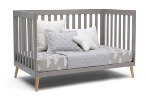 Delta Children Grey with Natural (1359) Essex 4-in-1 Convertible Crib, Right Day Bed Silo View