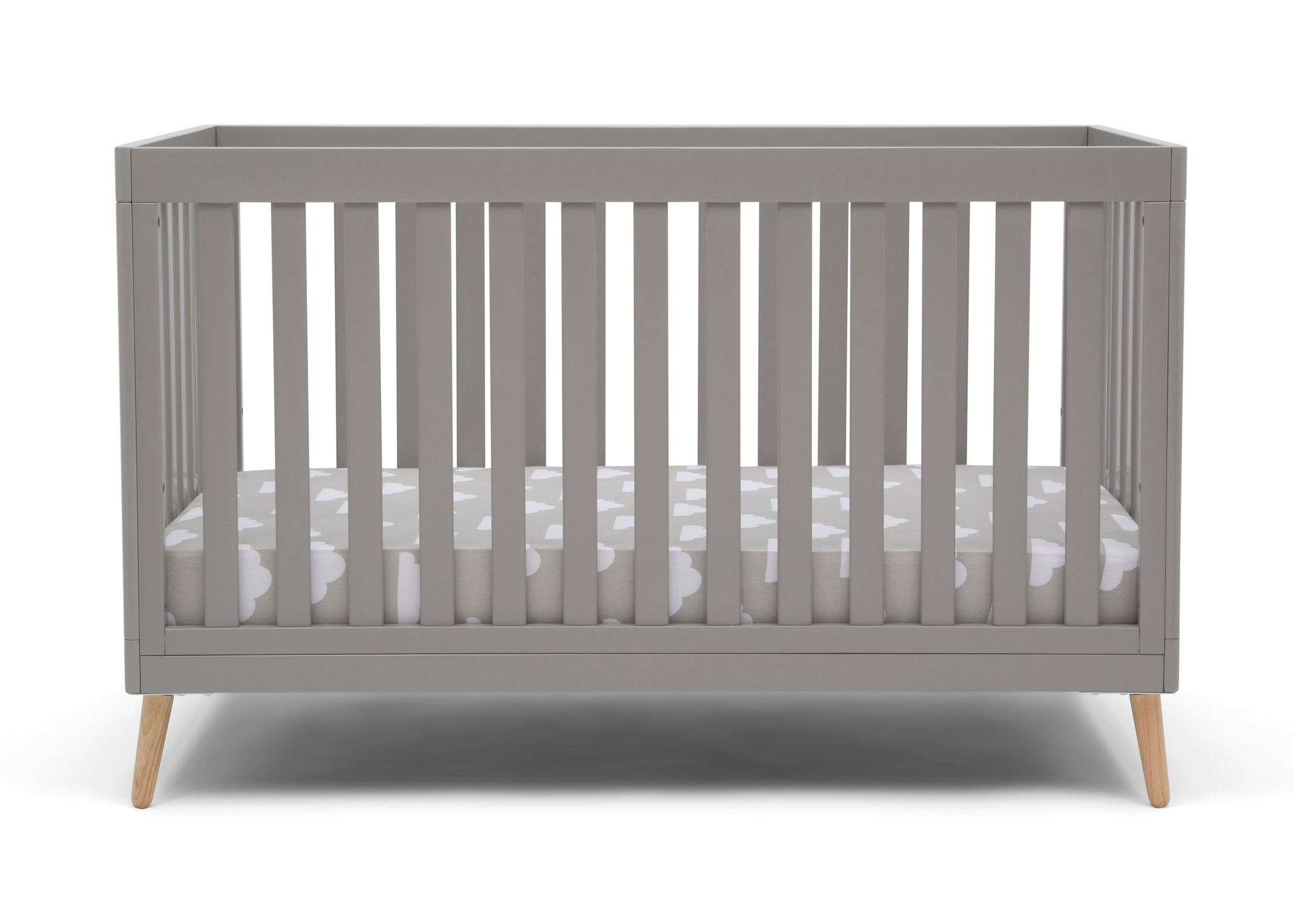 Delta Children Grey with Natural (1359) Essex 4-in-1 Convertible Crib, Front Crib Silo View