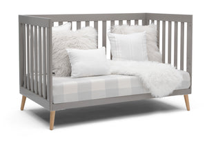 Delta Children Grey with Natural (1359) Essex 4-in-1 Convertible Crib, Right Sofa Silo View