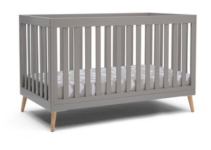 Delta Children Grey with Natural (1359) Essex 4-in-1 Convertible Crib, Right Crib Silo View