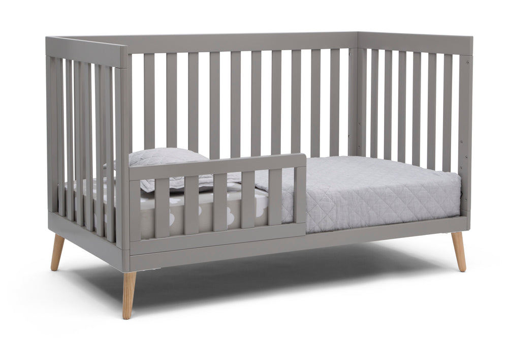Delta Children Grey with Natural (1359) Essex 4-in-1 Convertible Crib, Right Toddler Bed Silo View