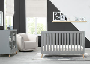 Delta Children Grey with Natural (1359) Essex 4-in-1 Convertible Crib, Room View