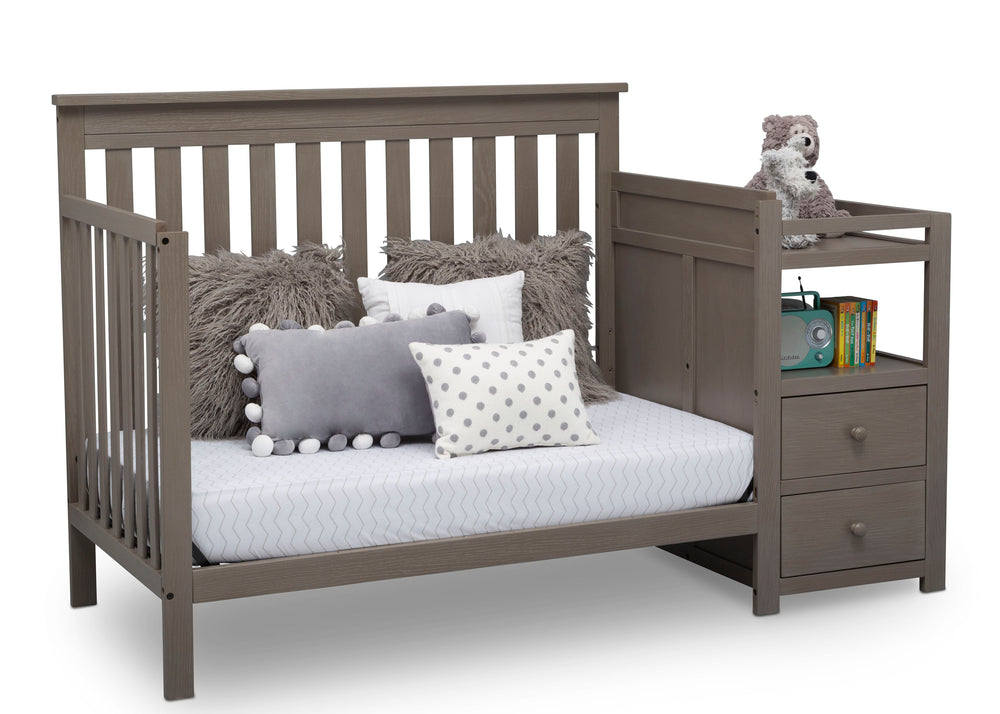 Delta Children Textured Pebble Grey (1341) Mason Convertible Baby Crib N Changer Daybed Angled View a6a