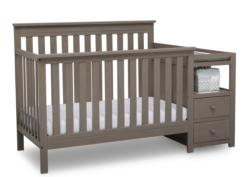 Delta Children Textured Pebble Grey (1341) Mason Convertible Baby Crib N Changer Crib Angled View a4a