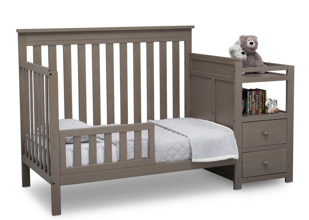 Delta Children Textured Pebble Grey (1341) Mason Convertible Baby Crib N Changer Toddler Bed Angled View a5a