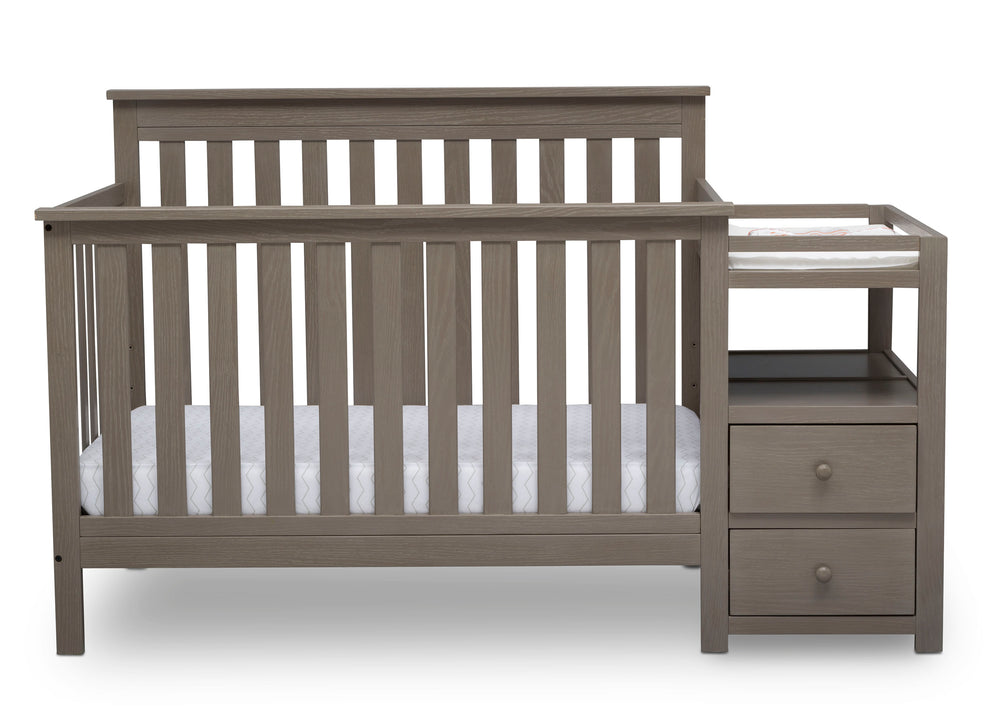 Delta Children Textured Pebble Grey (1341) Mason Convertible Baby Crib N Changer Crib Front View a3a