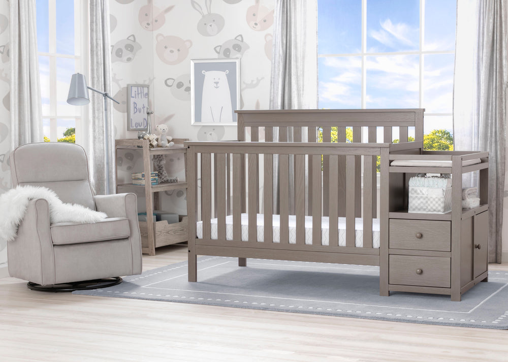 Delta Children Textured Pebble Grey (1341) Mason Convertible Baby Crib N Changer Roomshot a1a