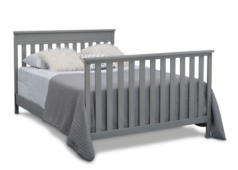 Delta Children Grey (026) Kingswood 4-in-1 Convertible Baby Crib Full Size Bed Silo View