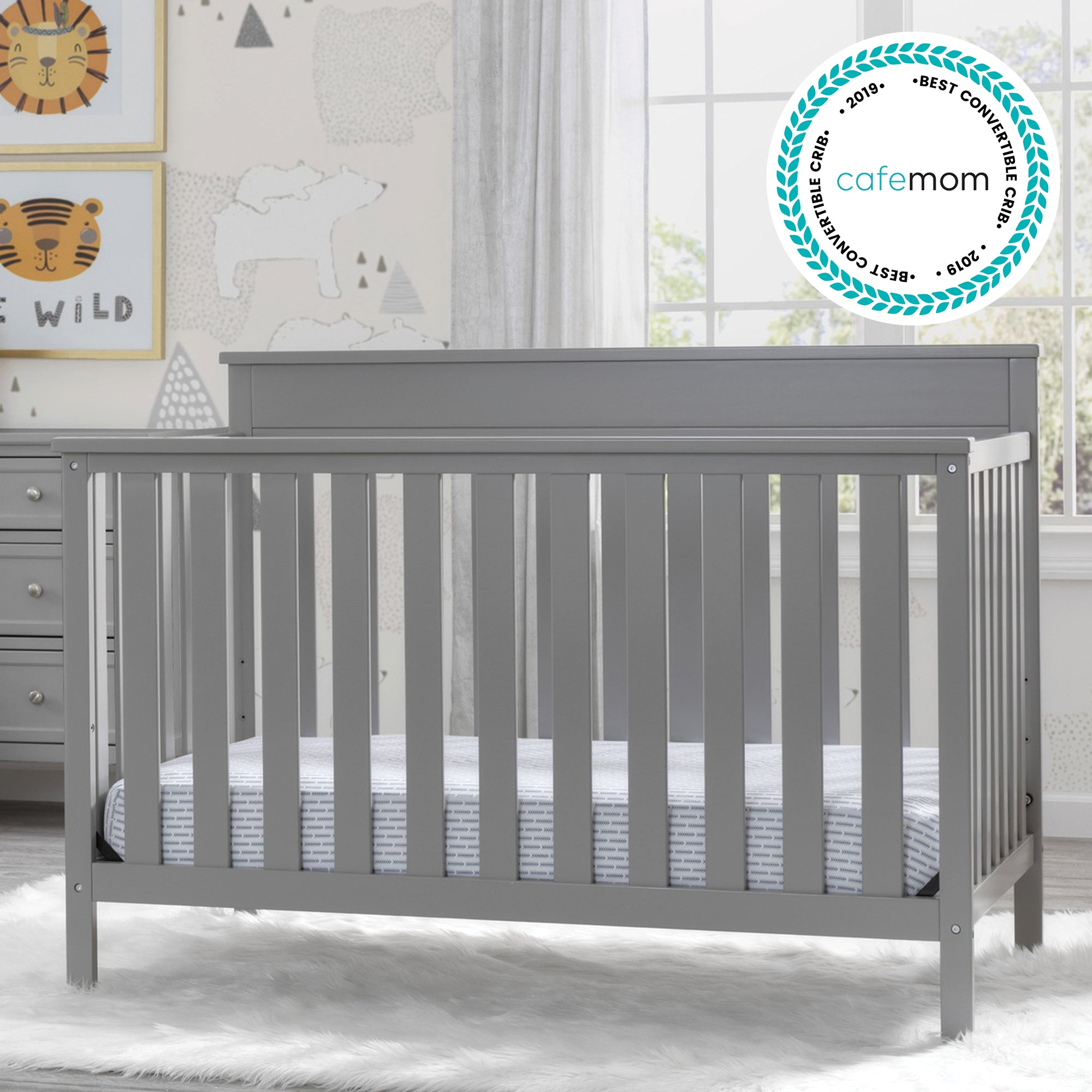Kingswood 4 in 1 Convertible Baby Crib Grey 026