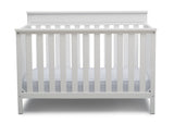 Delta Children Bianca White (130) Kingswood 4-in-1 Convertible Baby Crib Front Crib Silo View