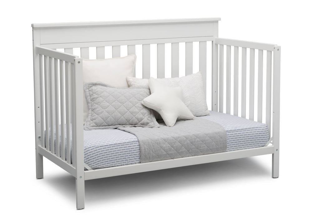 Delta Children Bianca White (130) Kingswood 4-in-1 Convertible Baby Crib Day Bed Silo View