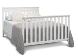 Delta Children Bianca White (130) Kingswood 4-in-1 Convertible Baby Crib Full Size Bed Silo View