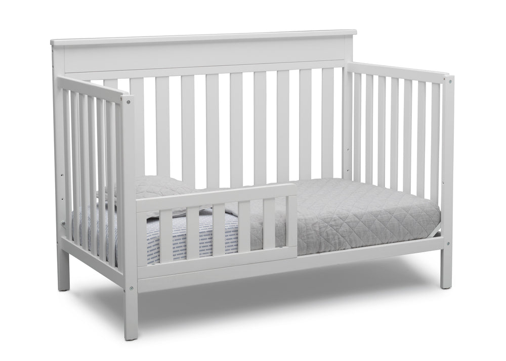 Delta Children Bianca White (130) Kingswood 4-in-1 Convertible Baby Crib Toddler Bed Silo View