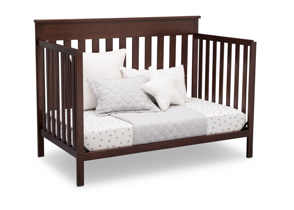 Delta Children Walnut Espresso (1324) Kingswood 4-in-1 Convertible Baby Crib Day Bed Silo View