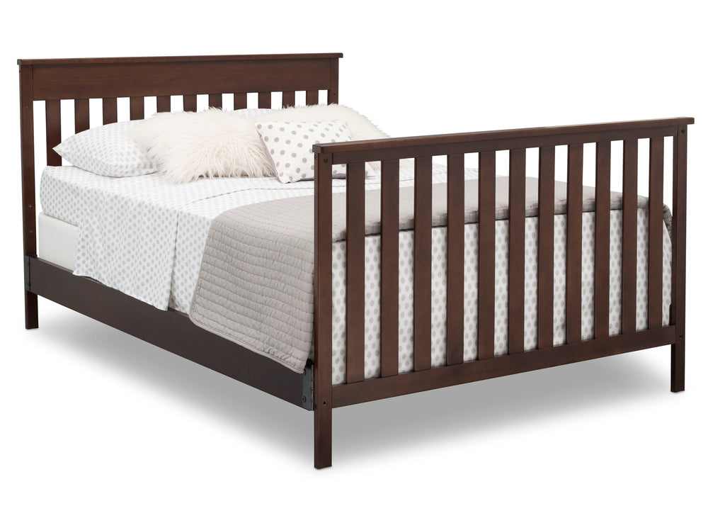 Delta Children Walnut Espresso (1324) Kingswood 4-in-1 Convertible Baby Crib Full Size Bed Silo View