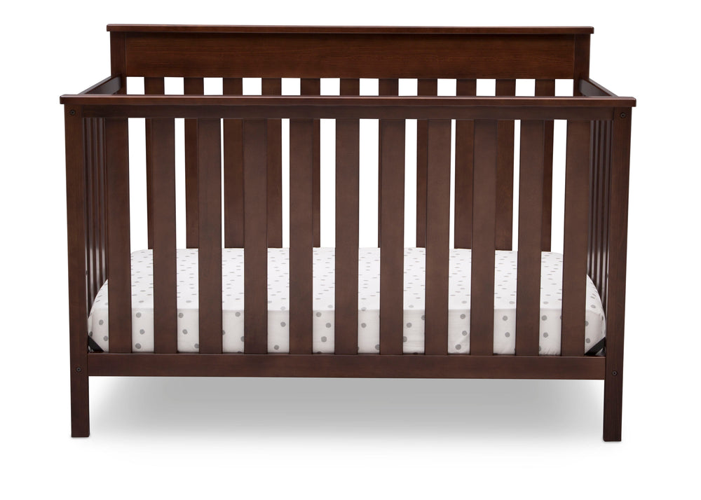 Delta Children Walnut Espresso (1324) Kingswood 4-in-1 Convertible Baby Crib Front Crib Silo View