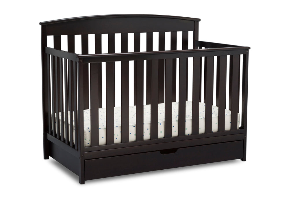 Delta Children Duke 4-in-1 Convertible Baby Crib with Under Drawer, Dark Chocolate Right Crib View a4a