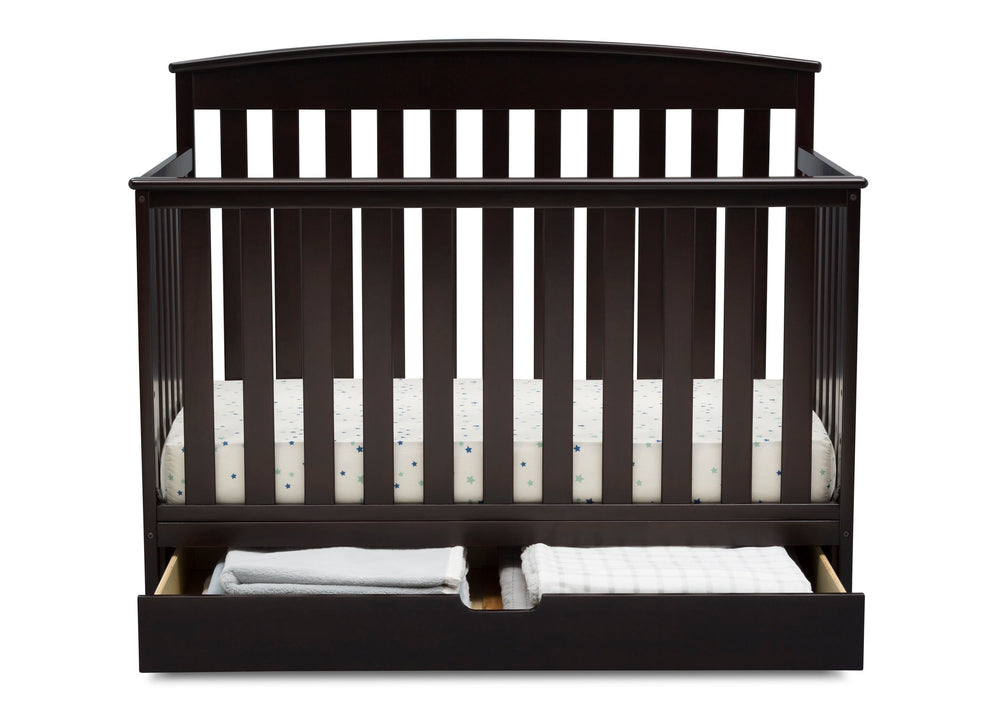 Delta Children Duke 4-in-1 Convertible Baby Crib with Under Drawer, Dark Chocolate Front Crib View with Drawer Open a3a