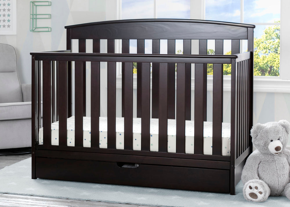 Delta Children Duke 4-in-1 Convertible Baby Crib with Under Drawer, Dark Chocolate Crib Roomshot View a1a