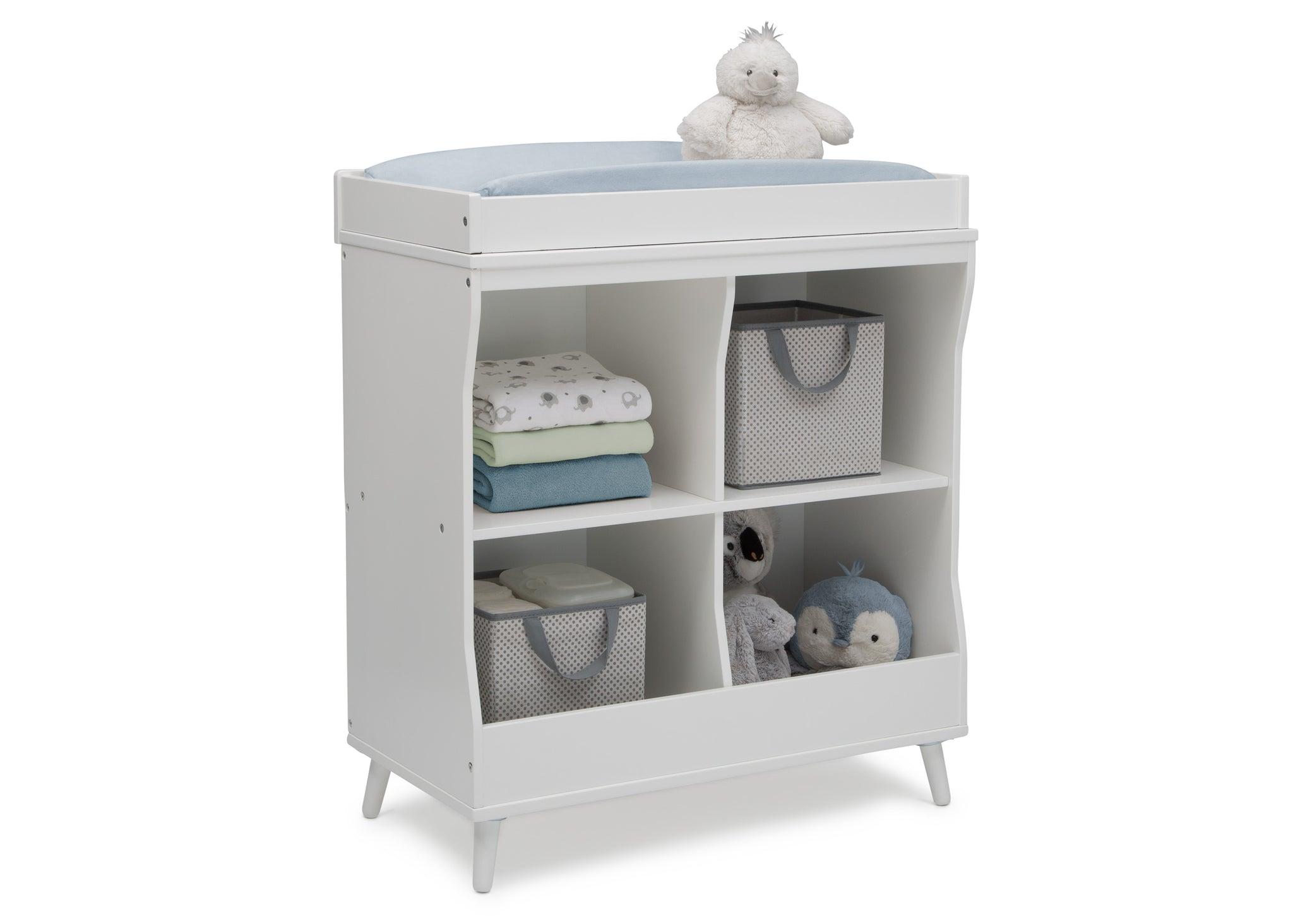 Delta Children Bianca White (123) Essex Changing Table/Bookcase, Right Silo View