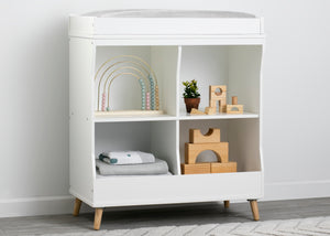 Delta Children Bianca White with Natural (123) Essex Changing Table/Bookcase
