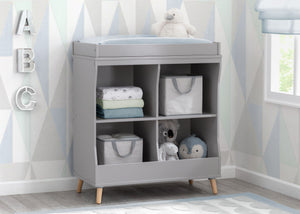 Delta Children Grey with Natural (1359) Essex Changing Table/Bookcase, Hangtag View