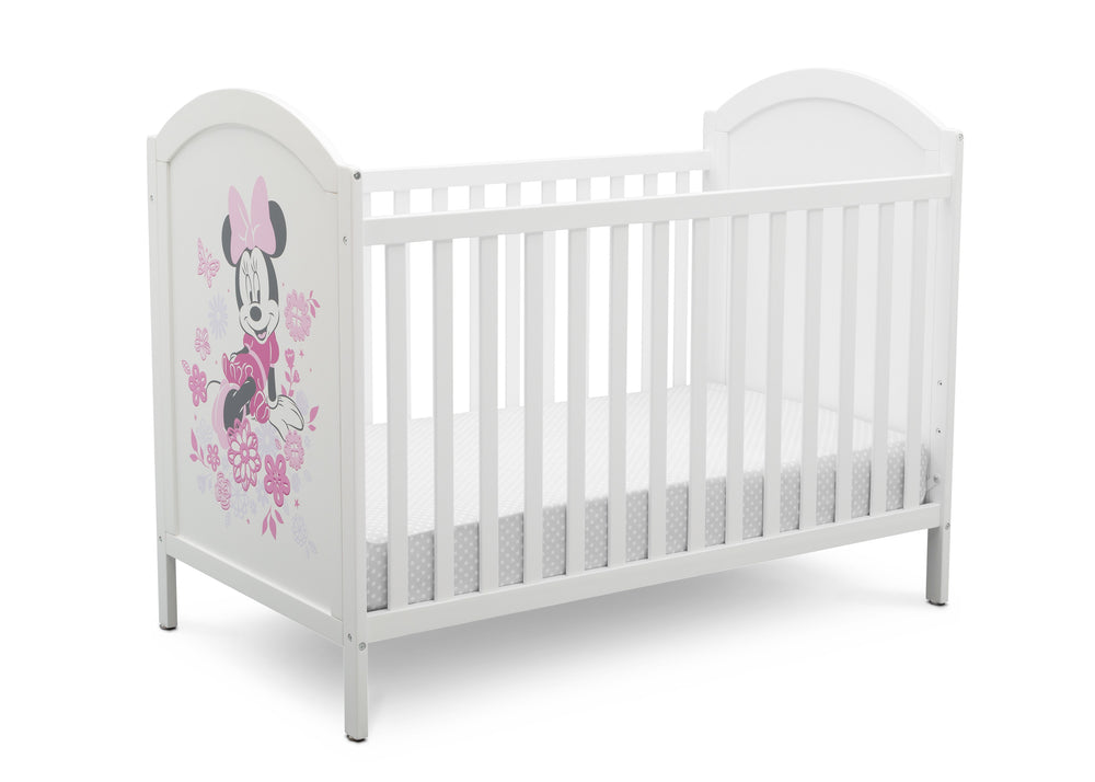 Disney Bianca White with Minnie (1302) Minnie Mouse 4-in-1 Convertible Crib by Delta Children, Right Silo View