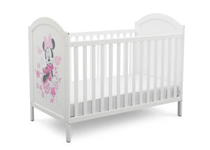 Disney Bianca White with Minnie Mouse (1302) Minnie Mouse 4-in-1 Convertible Crib by Delta Children, Right Silo View