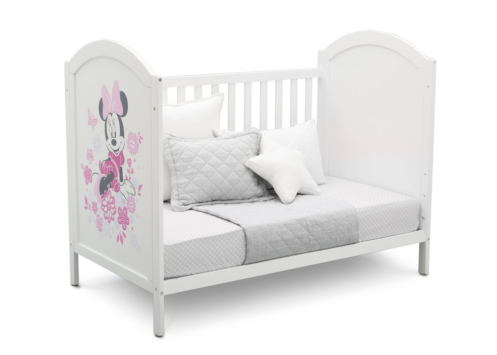 Disney Bianca White with Minnie (1302) Minnie Mouse 4-in-1 Convertible Crib by Delta Children, Day Bed Silo View
