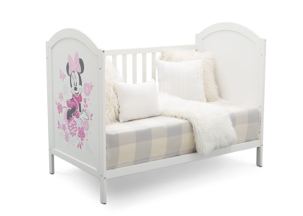Disney Bianca White with Minnie (1302) Minnie Mouse 4-in-1 Convertible Crib by Delta Children, Sofa Silo View