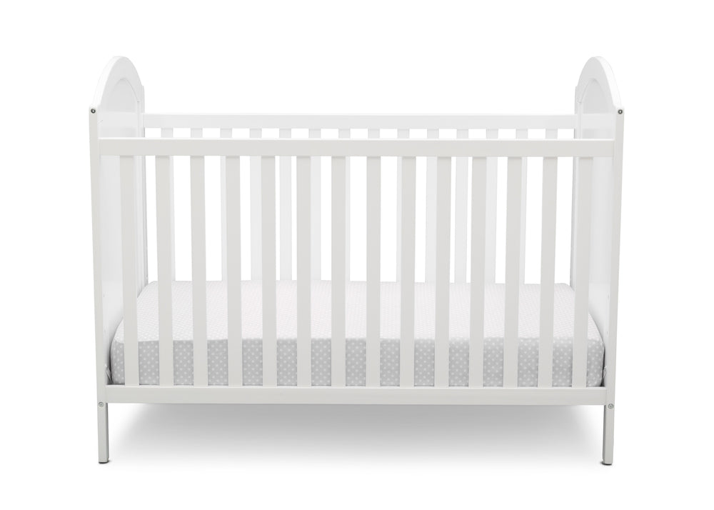 Disney Bianca White with Minnie (1302) Minnie Mouse 4-in-1 Convertible Crib by Delta Children, Front Silo View