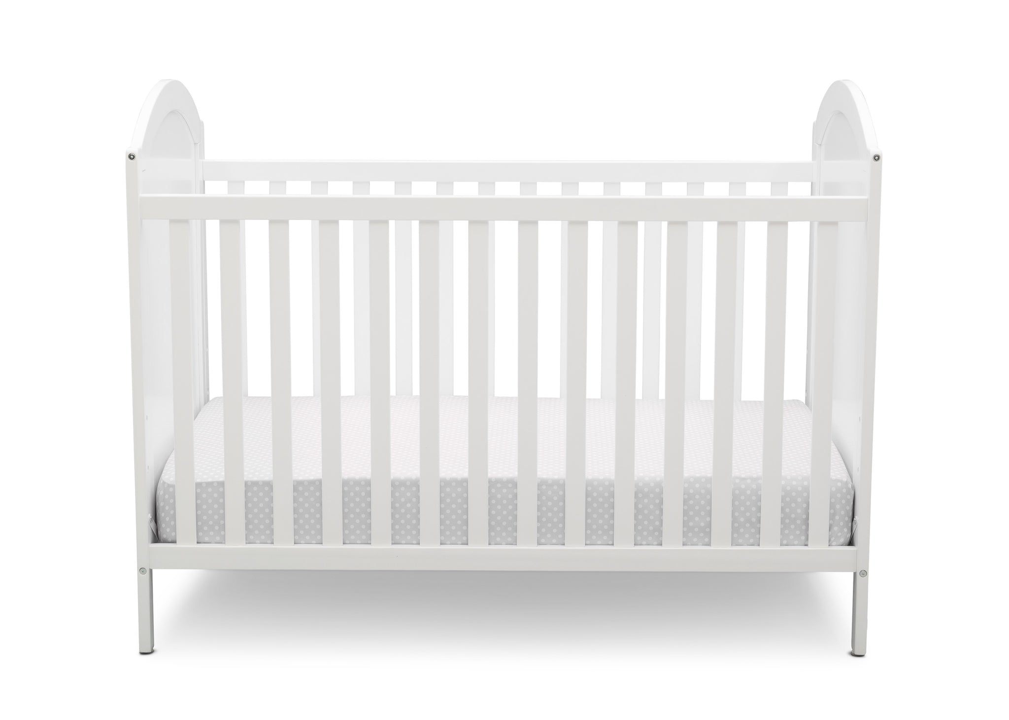 Disney Bianca White with Minnie Mouse (1302) Minnie Mouse 4-in-1 Convertible Crib by Delta Children, Front Silo View