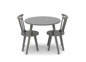 Delta Children Grey (026) Homestead Table and Chair Set, Front Silo View with Chairs In