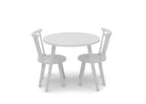 Delta Children Bianca White (130) Homestead Table and Chair Set, Front Silo View with Chairs In