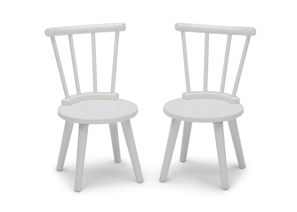 Delta Children Bianca White (130) Homestead 2-Piece Chair Set, Front Silo View