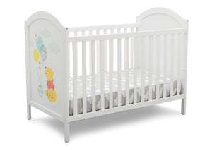 Delta Children Bianca White with Pooh (1301) Winnie The Pooh 4-in-1 Convertible Crib, Right Silo View