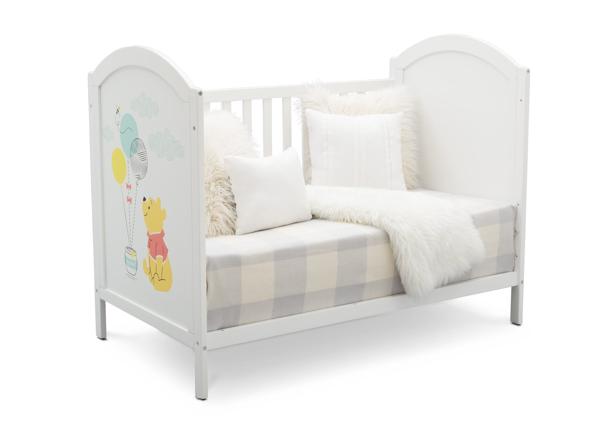 Delta Children Bianca White with Pooh (1301) Winnie The Pooh 4-in-1 Convertible Crib, Day Bed Silo View 2