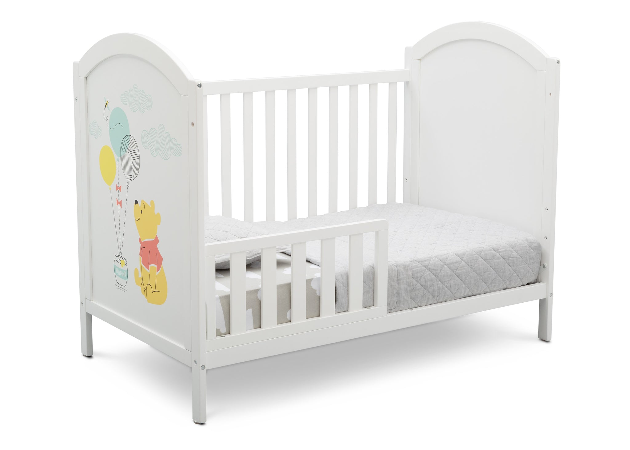 Delta Children Bianca White with Pooh (1301) Winnie The Pooh 4-in-1 Convertible Crib, Toddler Bed Silo View