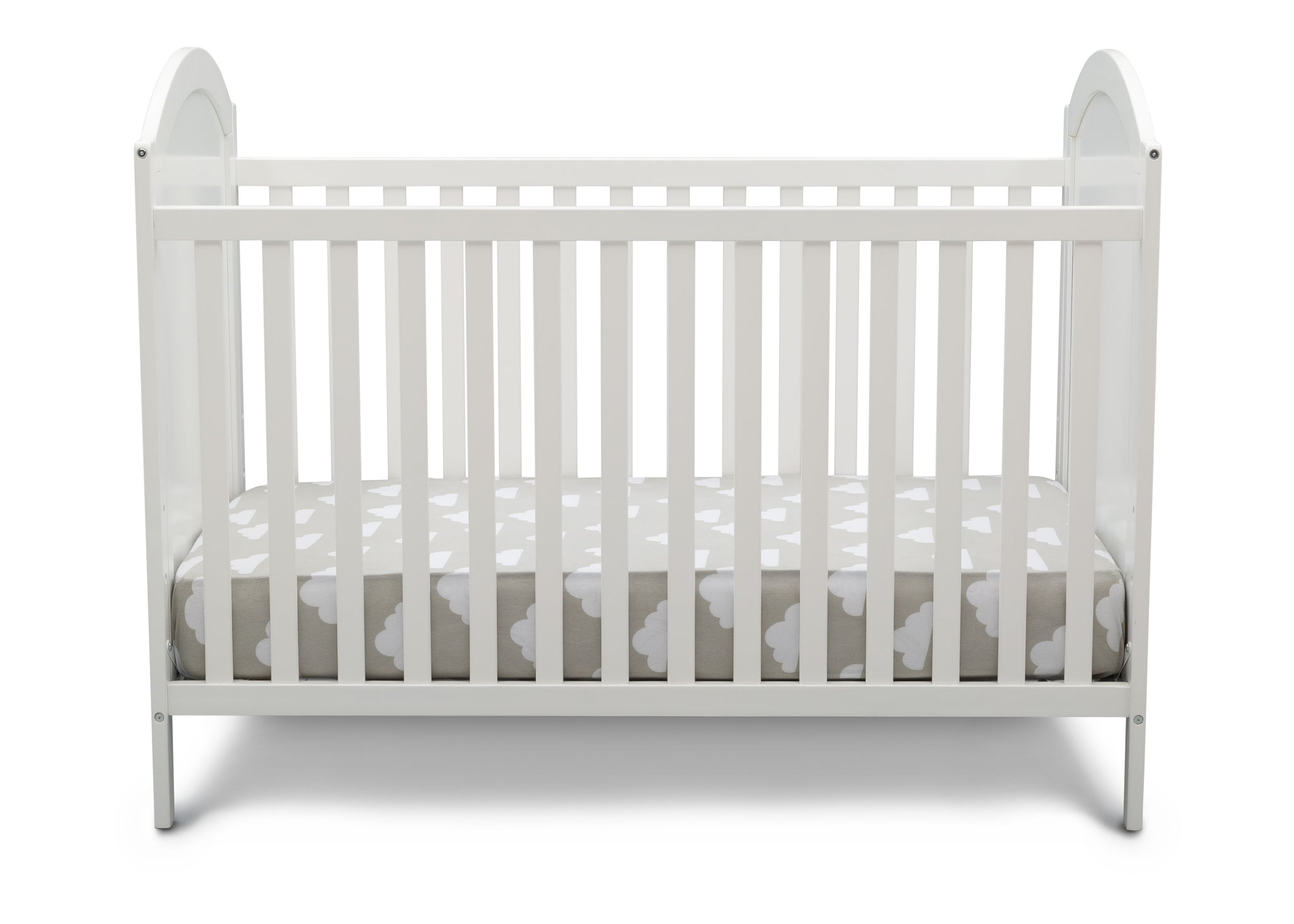 Delta Children Bianca White with Pooh (1301) Winnie The Pooh 4-in-1 Convertible Crib, Front Silo View