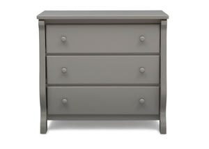 Delta Children Grey (026) Universal 3 Drawer Dresser Front Silo View