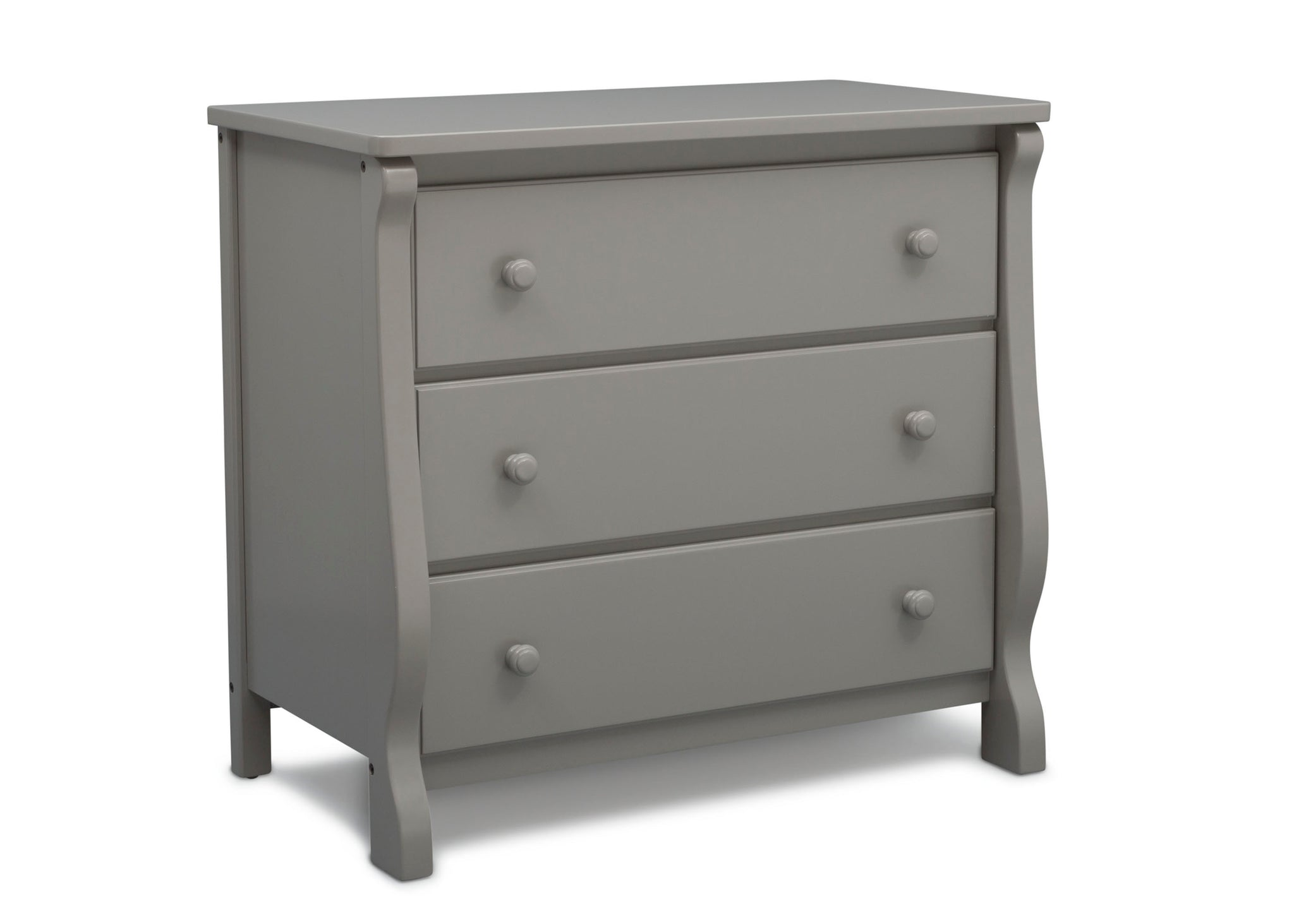 Delta Children Grey (026) Universal 3 Drawer Dresser Right Silo View